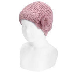 English stitch fold-over knit hat w/tulle flower PALE PINK