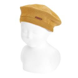 Garter stitch beret MUSTARD