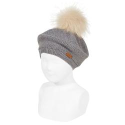 Garter stitch beret with faux fur pompom LIGHT GREY