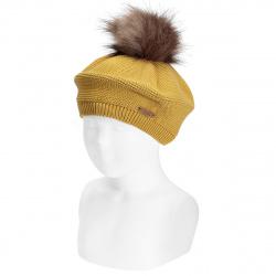 Garter stitch beret with faux fur pompom MUSTARD