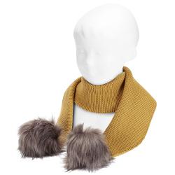 Garter stitch scarf with faux fur pompoms MUSTARD