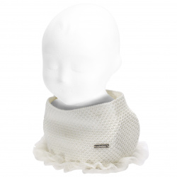 Baby sand stitch snood scarf with gathered tulle CREAM