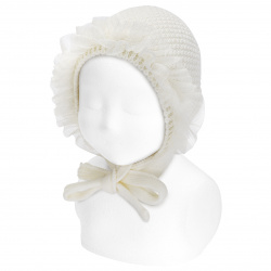 Baby sand stitch bonnet with gathered tulle CREAM