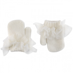 Mittens with gathered tulle CREAM