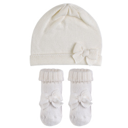 Baby knitted bow set BEIGE