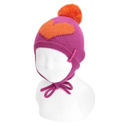 Bonnet bébé coeur avec cache-oreilles etpompom BUGAINVILLE