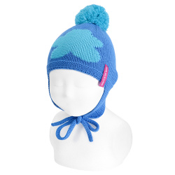 Baby cloud pompom knit hat with earflaps ELECTRIC BLUE