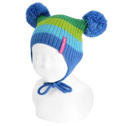 Bonnet bébé multicouleur et cache-oreilles pompom GROS BLEU