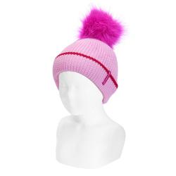 English stitch knit hat w/faux fur pompom PETAL