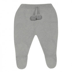 Garter stitch footed leggings with pompoms ALUMINIUM