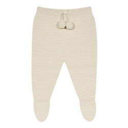 Garter stitch footed leggings with pompoms LINEN