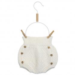 Culotte tricot micro relief en merino mélange ECRU