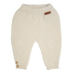 Pantalon tricot micro relief en merio mélange ECRU