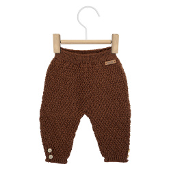 Merino blend trousers in micro relief CHOCOLATE