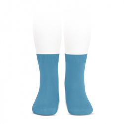 Plain stitch basic short socks SAPPHIRE