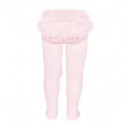 Baby tights with gathered tulle at back