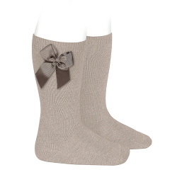 Knee high socks with side bow STONE