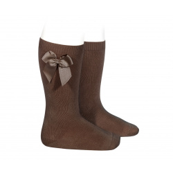 Knee high socks with side bow BROWN