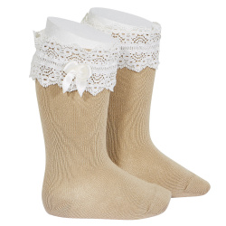 Lace trim knee socks with bow ROPE