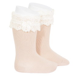Lace trim knee socks with bow NUDE