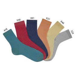 Calcetines cortos acanalados de hilo brillante