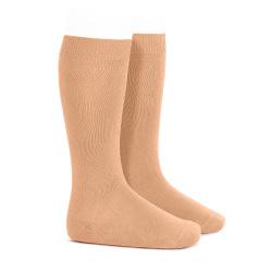Plain stitch basic knee high socks PEACH