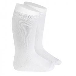 Chaussettes hautes bordure ajourée BLANC