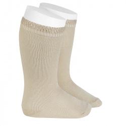Ceremony knee-high socks with openwork cuff LINEN