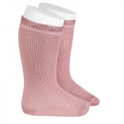 Chaussettes hautes bordure ajourée PALE ROSE
