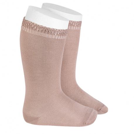 Chaussettes hautes bordure ajourée VIEUX ROSE