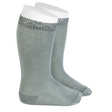 Chaussettes hautes bordure ajourée VERT SEC