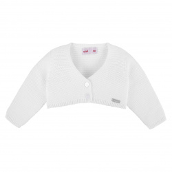 Garter stitch bolero cardigan WHITE