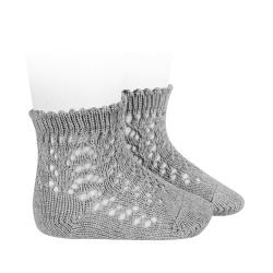 Cotton openwork short socks ALUMINIUM