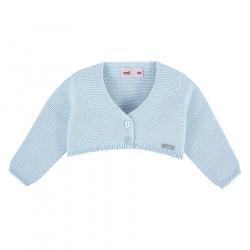 Garter stitch bolero cardigan BABY BLUE