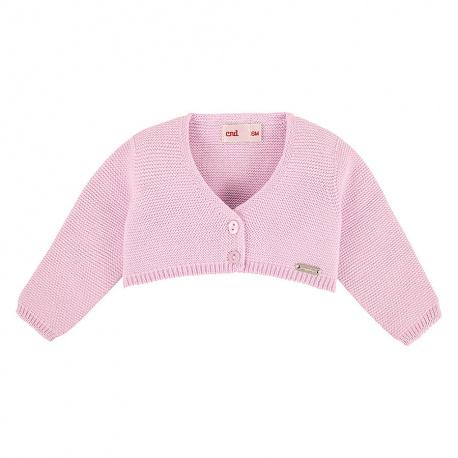 Garter stitch bolero cardigan PINK