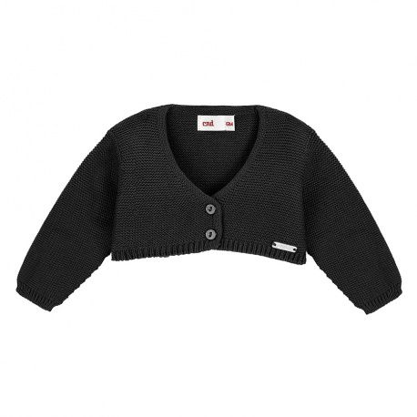 Garter stitch bolero cardigan BLACK