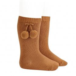 Warm cotton knee-high socks with pompoms CINNAMON