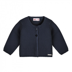 Garter stitch cardigan NAVY BLUE