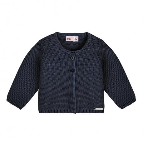 Garter stitch cardigan NAVY BLUE