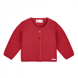 Garter stitch cardigan RED