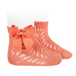 Calcetines cortos de perlé calados con lazo PEONIA