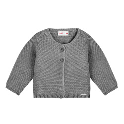 Garter stitch cardigan LIGHT GREY