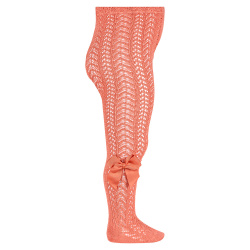 Openwork perle tights with side grossgrain bow PEONY