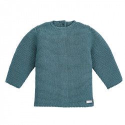 Garter stitch sweater STONE BLUE