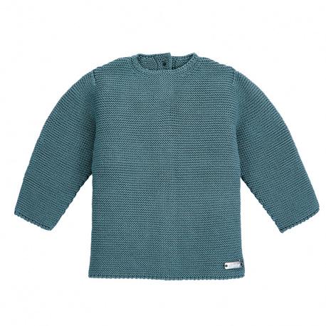 Garter stitch sweater STONE BLUE
