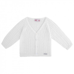 girls openwork cardigan WHITE