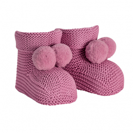 Garter stitch baby booties with pompoms CASSIS