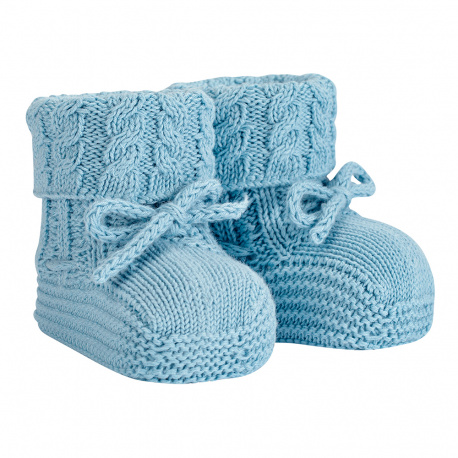 Baby aran stitch booties CLOUD
