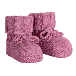 Baby aran stitch booties CASSIS