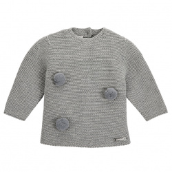 Garter stitch sweater with pompoms ALUMINIUM